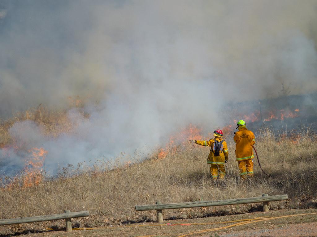 Controlled burn of grasslands - 2 - Barton - ACT - Australia - 20180428 @ 10:50