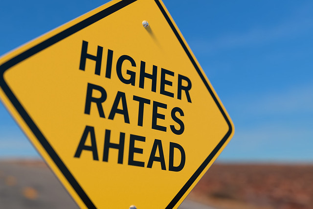 Higher Rates Ahead Road Sign