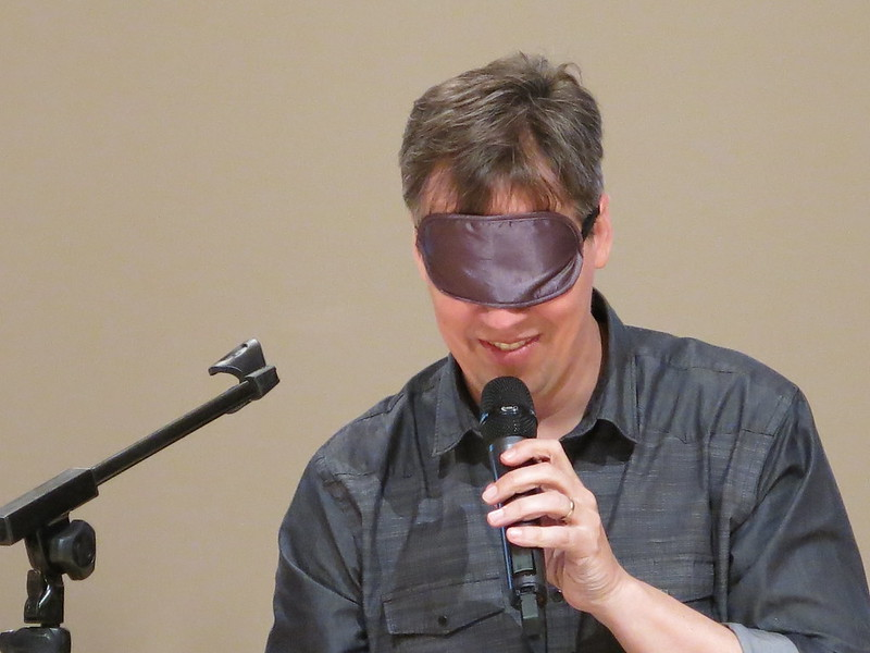 Jeff Kinney draws blindfold