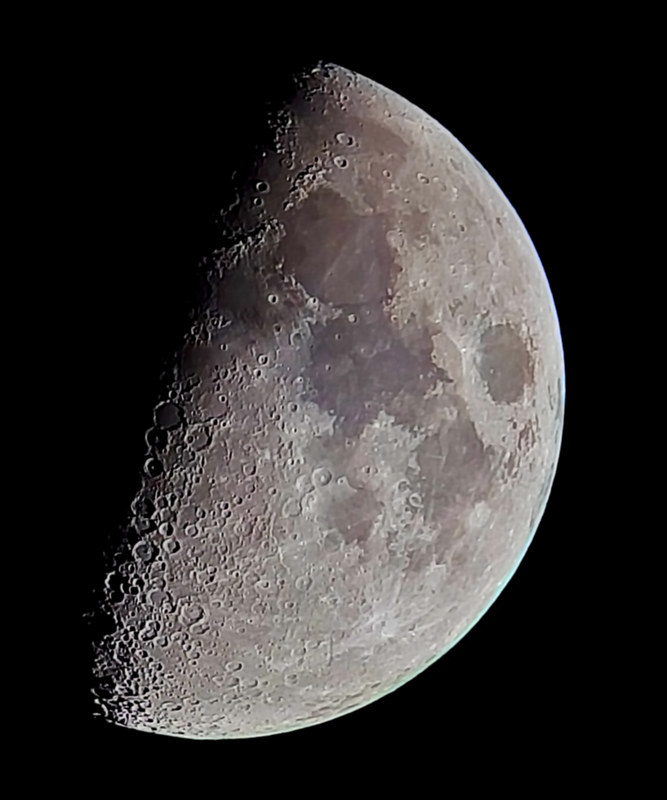 Waxing gibbous Moon 22 May 2018 2158h UT from stacked phone video