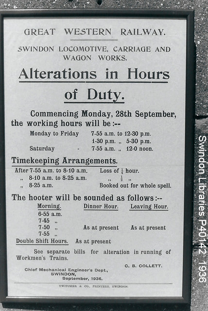 1936: Poster at GWR Swindon Works -
