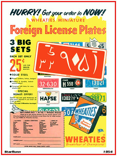 GM Wheaties - 1954 Foreign License Plates
