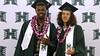 Men's basketball student-athletes Mike Thomas, left, and Zach Buscher at the University of Hawaii at Manoa's spring 2018 commencement ceremony on Saturday, May 12, 2018.