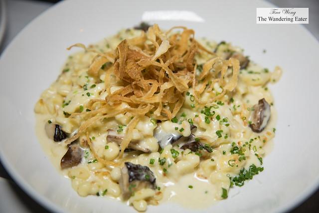 Spätzle, Wild Mushrooms, Taleggio, Gruyere, Truffle Oil, Crispy Onions