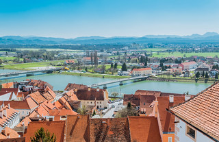 Panoramic view from Ptuj Castle over Drava river, Slovenia | by wuestenigel