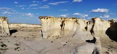 This is Kansas. Chalk mounds blue sky landscape.