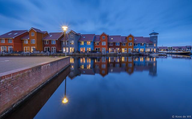 Reitdiep harbour at blue hour
