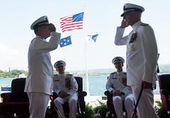 Adm. Scott Swift, right, and Adm. John C. Aquilino exchange salutes during the Pacific Fleet change of command ceremony, May 17. (U.S. Navy/MC3 Jessica O. Blackwell)