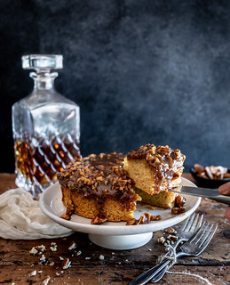 bourbon pecan pie upside-down cake | by Husbands That Cook