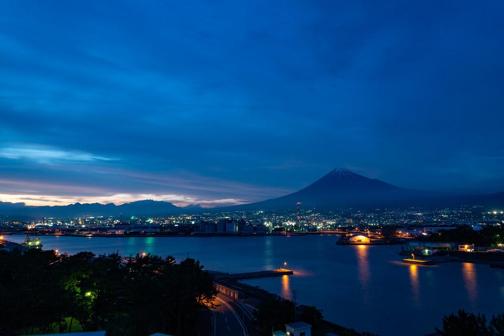 The night view of Mt. Fuji
