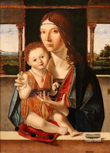 Antonello da Messina (1430-1479) Jacobello di Antonello da Messina (1455-1488) Madonna col Bambino (1480) - Accademia di Carrara - Bergamo