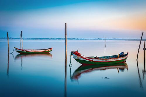 aveiro le moliceiro torreira yellow barco blue boat colors mirror ria river sea sunrise water