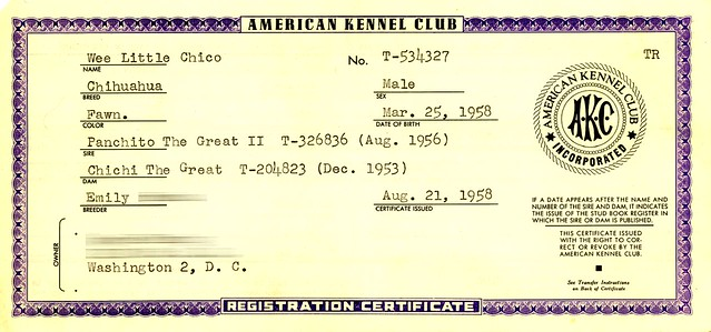 AKC Registration 1958 | Found this in a pile of my mom's pap