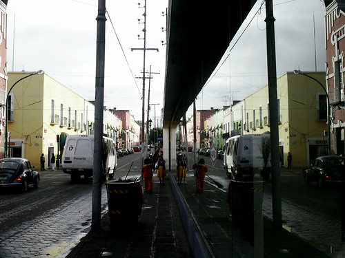 Reflection of the street in Puebla