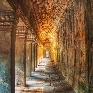 The corridors of the Angkor Wat temples.
