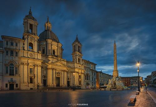roma rome italia italy lazio europe obelisk bluehour clouds piazza navona square church streetlights santagneseinagone panorama sunrise dusk sonya7rii sony1635f4