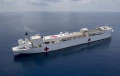 In this file photo, USNS Mercy (T-AH 19) transits Western Pacific waters in May. (U.S. Navy/MC2 Kelsey L. Adams)