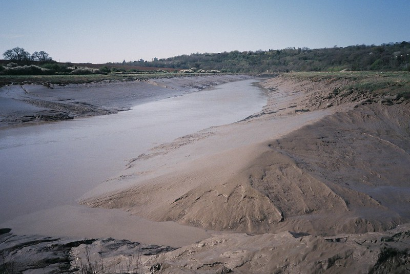 The Trym joins the Avon - low tide