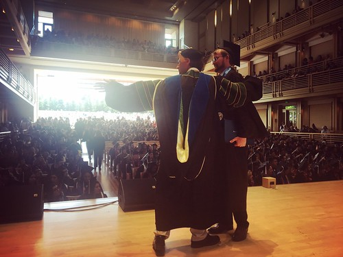 Jeff was the hugger-in-chief as the students walked across the stage