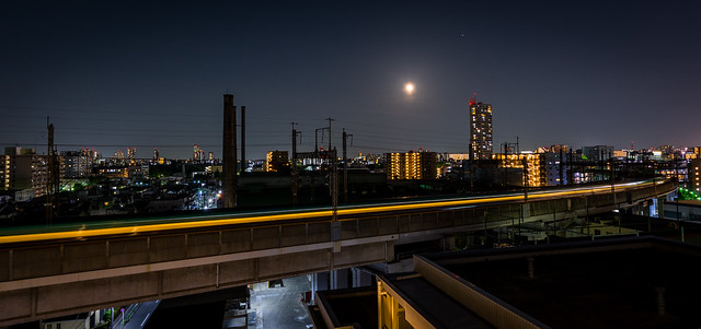 #121 Moon and passing train
