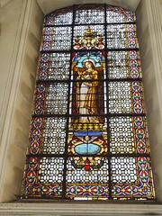 vidriera interior Basilica iglesia San Cristobal Charleroi Belgica 11