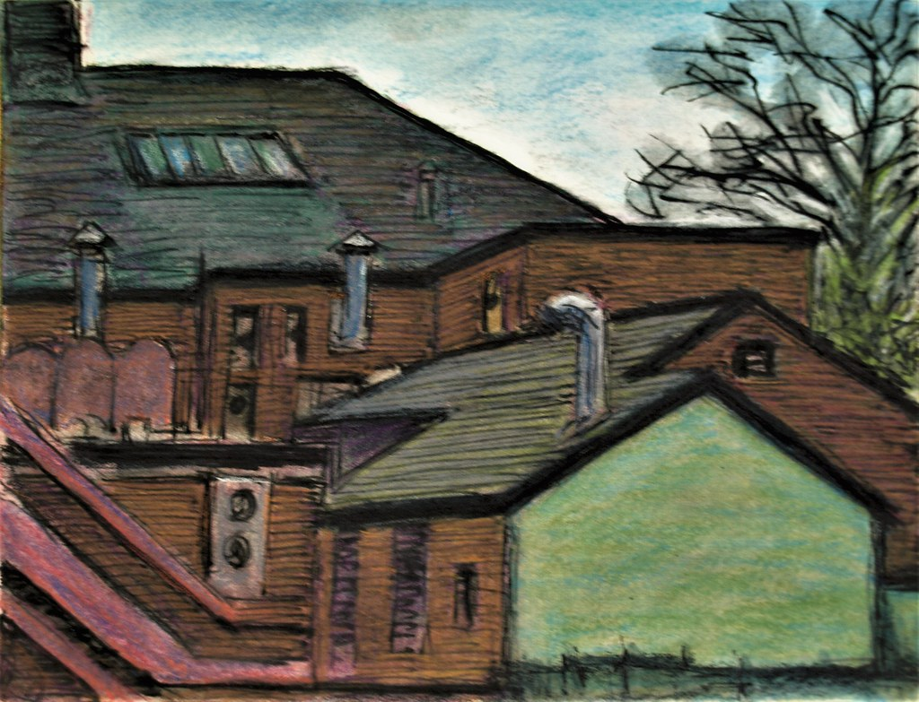 Small ink watercolour pencil sketch of the rear of shops in didsbury manchester