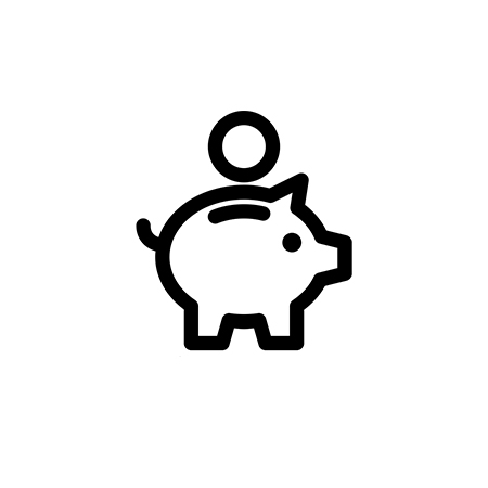 Money saving piggy bank.